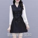洋装實拍春裝新款時尚法式名媛拼接長袖連衣裙女顯高顯瘦心機設計感 凯斯盾
