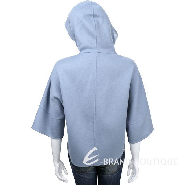 Max Mara-WEEKEND 水藍色雙面穿連帽七分袖羊毛外套 1610322-77