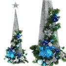【摩達客】90CM銀藍色系聖誕裝飾四角樹塔(不含燈)