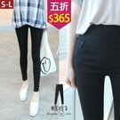 【五折價$365】糖罐子車線造型寬版腰頭純色口袋窄管長褲→預購(S-L)【KK7210】