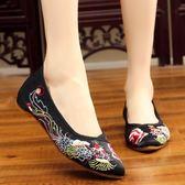 中國風繡花鞋老北京布鞋 秀禾服配鞋新娘婚鞋尖頭女單鞋子