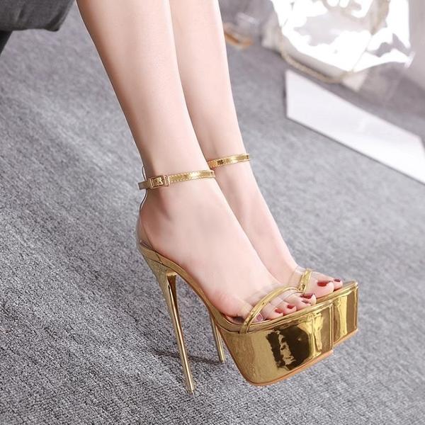 高跟鞋 夏超高跟20cm細跟22cm魚嘴單鞋性感夜店女鞋大碼43恨天高16cm 麗人印象 免運