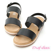 涼鞋 D+AF 舒適涼感.一字造型平底草編涼鞋*黑