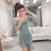 $399出清專區 韓國風性感一字領荷葉邊高腰修身不規則短袖洋裝
