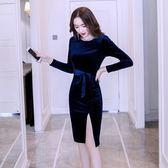 洋裝秋季連身裙女長袖款氣質韓版性感包臀心機裙子878GT2F-261-B快時尚