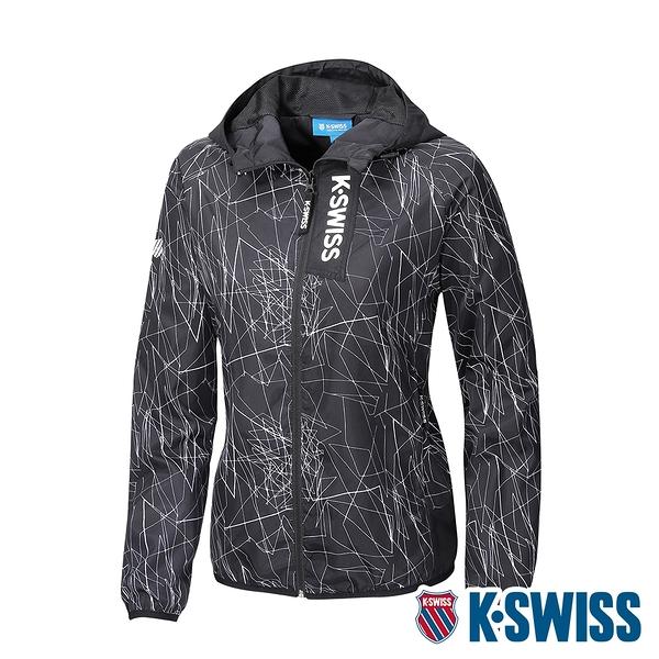 【超取】K-SWISS Lines Printed Jacket防風外套-女-黑白