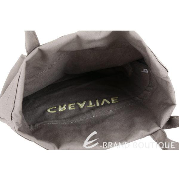 SEE BY CHLOE Live 刺繡字母棉質帆布束口購物包(灰色) 1840714-06