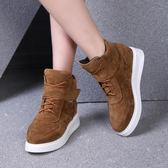 33-34 小碼女鞋 平底短靴休閑學生馬丁靴圓頭厚底大碼單靴