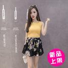 【8132-0515】春夏學院風高腰系帶太陽花雪紡裤裙(M.L)