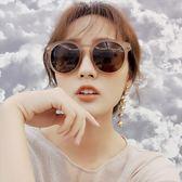 現貨-韓版ulzzang時尚百搭墨鏡沙茶色墨鏡女新品潮韓國復古茶色個性優雅新款太陽鏡圓臉百搭193