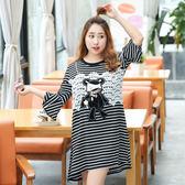 中大尺碼~黑白條紋小熊布貼長袖連衣裙(XL~4XL)