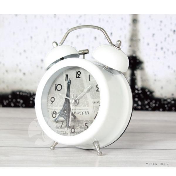 小鬧鐘 巴黎鐵塔數字造型靜音時鐘時尚歐式風格金屬打鈴小夜燈功能大鈴聲貪睡鐘-米鹿家居