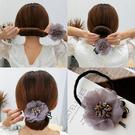盤髮器 丸子頭水晶花朵盤髮器韓國頭飾百變蓬鬆懶人花苞頭造型器髮帶髮飾 店慶降價