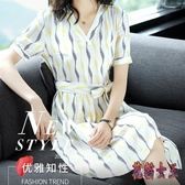 OL條紋系帶洋裝 2019夏季新款V領氣質A字裙子通勤女 BT3710【花貓女王】