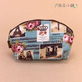 化妝包 包包 防水包 雨朵小舖 M032-416 貝殼化妝包-藍鐵塔紫花冠音06159 funbaobao