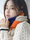 圍巾 秋冬季護頸正韓可愛少女保暖針織百搭拼色裝飾短圍脖【快速出貨】