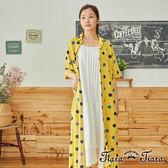 【Tiara Tiara】百貨同步aw 前排釦翻領水玉點點短袖洋裝(黃)