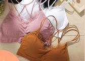裹胸式抹胸內衣女短款打底防走光美背吊帶背心性感聚攏交叉帶文胸  百搭潮品