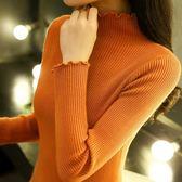 半高領毛衣女秋冬正韓套頭長袖百搭修身短款針織打底衫女加厚 巴黎時尚