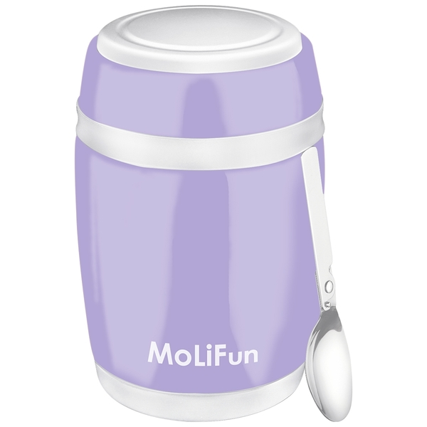 MoliFun魔力坊 不鏽鋼真空保鮮保溫燜燒食物罐480ml-微薰紫(MF0320V)