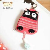 鑰匙包~雅瑪小舖日系貓咪包 啵啵黑貓橫條紋個性風鑰匙包/拼布包包