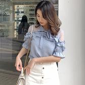 清倉$288 韓系雪紡衫波點蝴蝶結襯衫短袖上衣