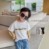 瞇瞇眼童裝2021秋季新款兒童韓版T恤男童洋氣拼接上衣寶寶打底衫 幸福第一站