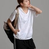 夏季新款百搭短袖連帽T恤女士白色純棉短款寬松帽衫大碼顯瘦 快速出貨