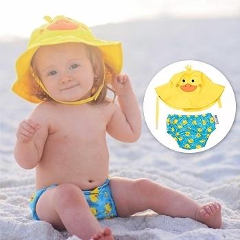 ZOOCCHiNi可愛動物尿布泳褲+遮陽帽/防曬帽-小鴨-適合1-2歲幼兒 (10-13kg)