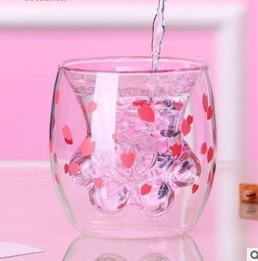 櫻花限定貓爪杯雙層貓掌杯子玻璃杯貓抓杯貓腳杯櫻花貓爪杯雙層玻璃杯【618優惠】