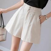 棉麻寬褲女2020夏季新款韓版松緊腰直筒寬鬆運動百搭熱褲高腰闊腿褲