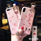iphonex手機殼 簡約愛心新款腕帶支架個性潮牌女掛繩 ZB825『美好時光』