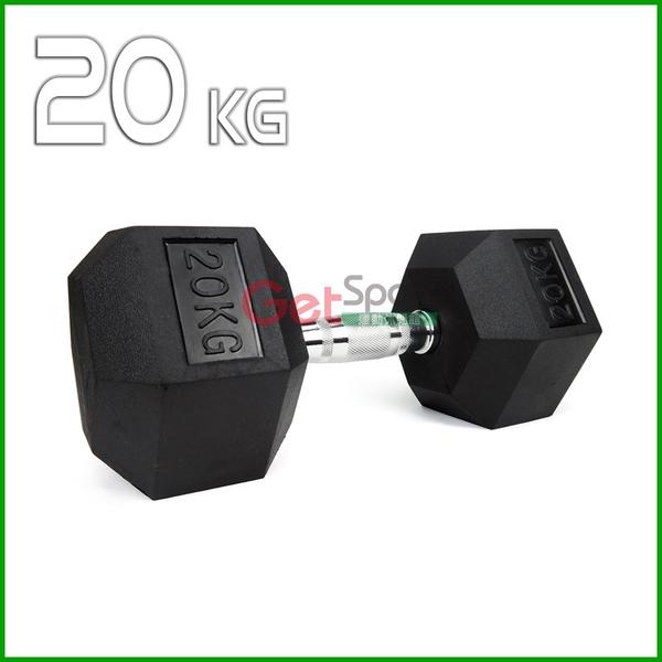 六角包膠啞鈴20公斤(20kg/舉重/深蹲/重量訓練/伏地挺身器/肌力訓練/二頭肌/胸肌)