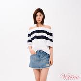 Victoria 條紋拼剪寬鬆拉克蘭短袖T-女-V85423