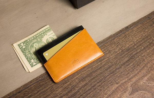 輕便名片夾 Slim Card Holder - 渡鴉黑/焦糖棕【可加購客製雷雕】卡夾 鈔票夾
