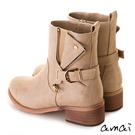 amai復古刷色皮帶裝飾彈性中筒靴 杏