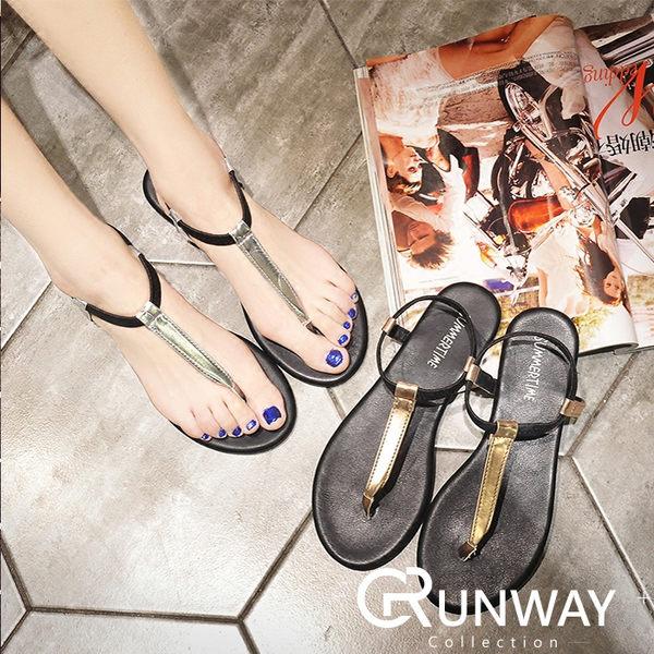 【R】金銀色皮質 T字型夏季涼鞋 夾腳拖 平底鞋 T字涼拖鞋 海邊度假 夾腳拖