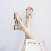 平底涼鞋 厚底楔形涼鞋女2019新款仙女風波西米亞人字拖夾趾百搭平底羅馬鞋【全館免運】