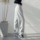 春夏薄款運動褲子女夏寬鬆顯瘦闊腿直筒灰色束腳褲休閒衛褲 快速出貨