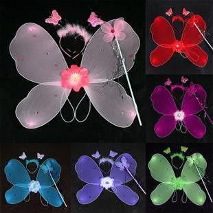 粉紅蝴蝶翅膀三件套(多色可選)