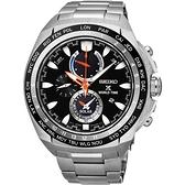 SEIKO 精工 PROSPEX 海世界時間時尚手錶-黑/44.6mm V195-0AB0D(SSC487P1)