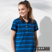 【JEEP】女裝 美式休閒條紋短袖POLO衫 (藍色)
