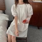 棉麻洋裝 森女 韓日系寬鬆娃娃領連身裙 花漾小姐【預購】