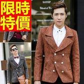男款毛呢外套防風型男-焦點合身剪裁短版雙排扣男大衣2色61x65[巴黎精品]