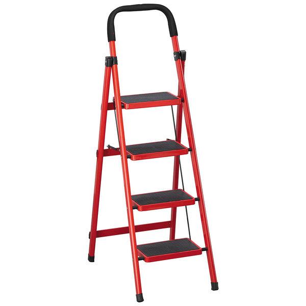 【森可家居】烤漆四層步梯(紅/黑) 8SB387-7 鋁梯