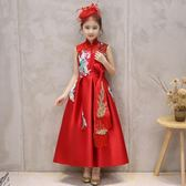 兒童旗袍女童中國風紅色禮服連身裙小女孩古箏演出服唐裝寶寶夏裝 熊貓本