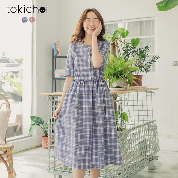東京著衣-tokichoi-青春無敵格紋排釦縮腰洋裝-S.M.L(190169)