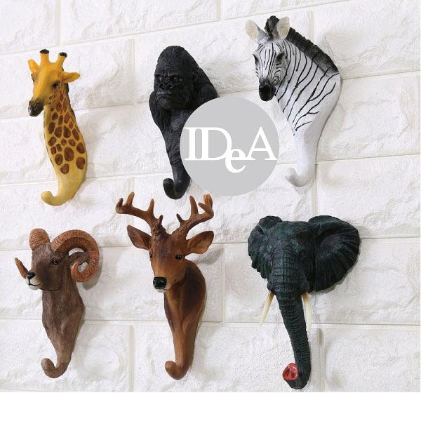 六入一組 居家創意 立體動物造形掛鉤 墻面裝飾 動物方程式 鑰匙掛鉤 酒吧 咖啡館 裝飾 擺飾