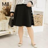 Miss38-(現貨)【A01166】大尺碼短裙 黑色A字圓裙  側邊鈕扣裝飾 鬆緊腰半身裙 及膝裙-中大尺碼女裝