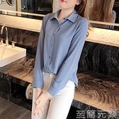 雪紡衫女長袖秋季新款洋氣韓版時尚氣質襯衫寬鬆職業白色上衣 雙十二全館免運